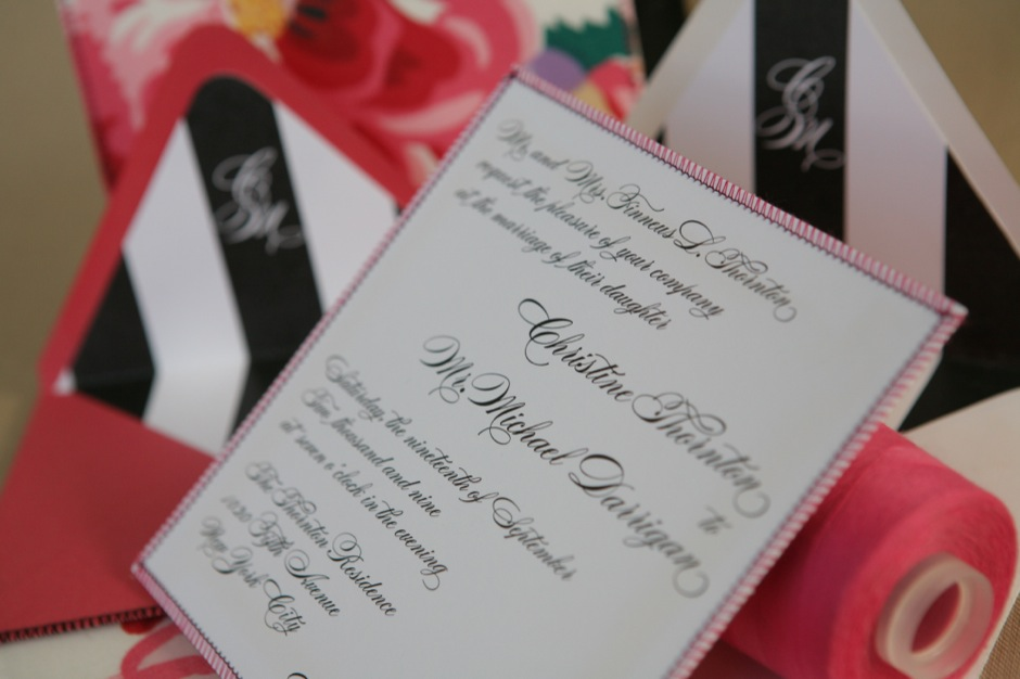 Sewn Wedding Invitation With Dorothy Draper Fabric
