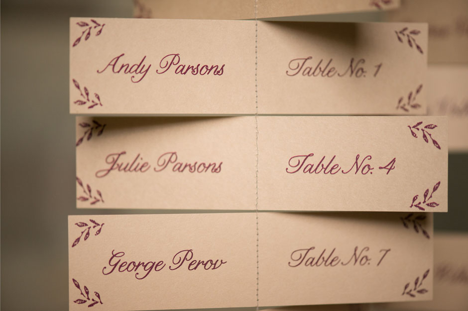 Sewn Paper Escort Card Mobile
