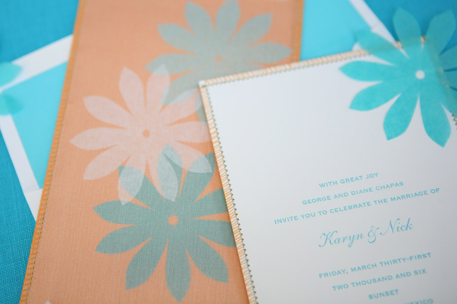 Sewn Wedding Invitation with Silk Organza