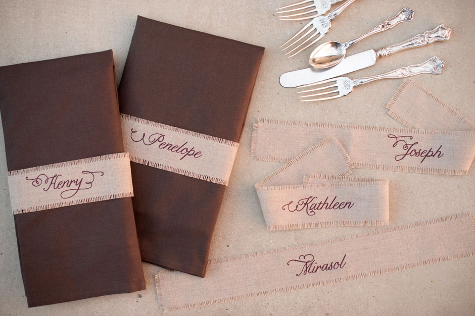Custom Printed Linen Fabric Napkin Wraps