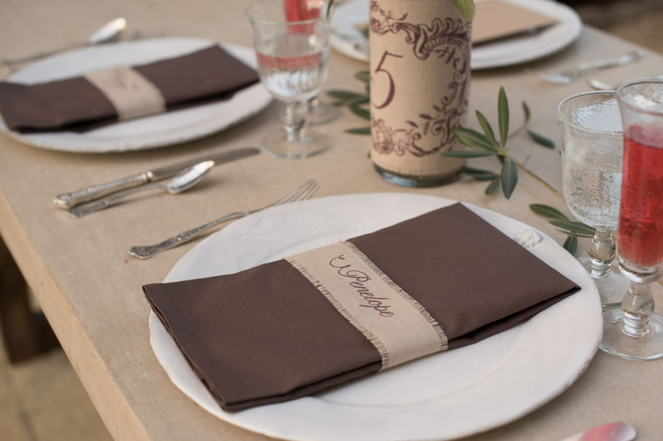 Custom Printed Linen Fabric Napkin Wrap