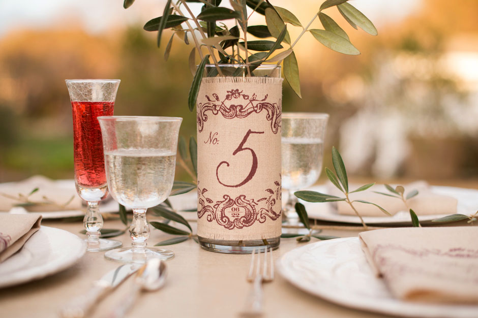 Custom Printed Linen Fabric Table Number