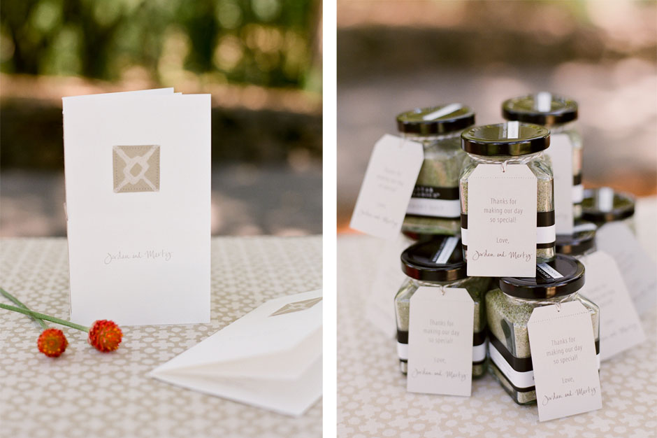 Sewn Wedding Programs and Custom Favor Tags