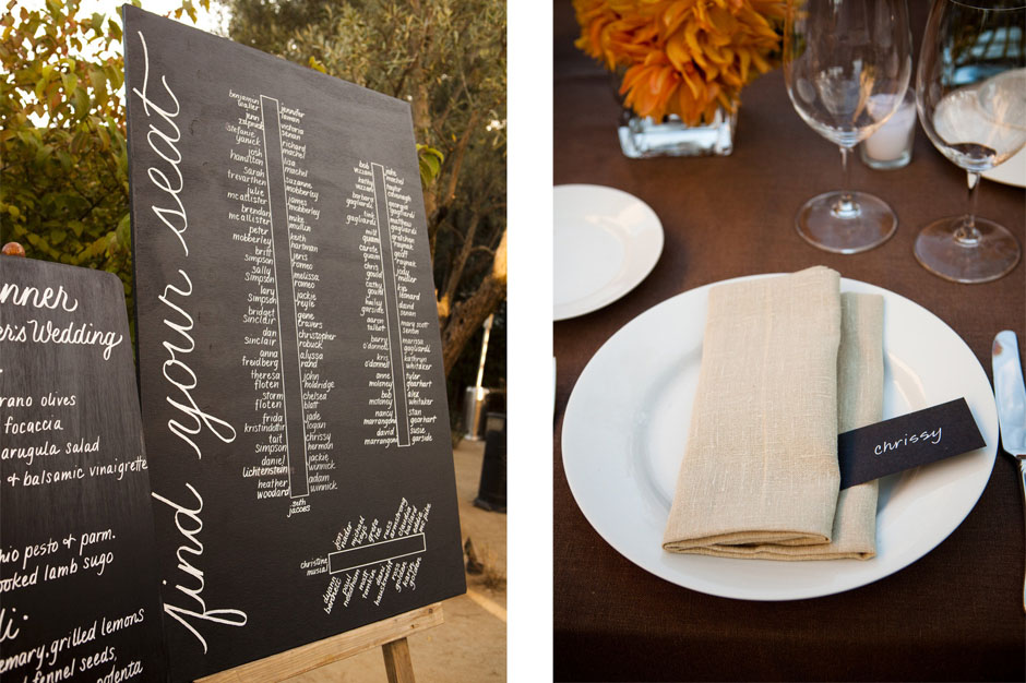 Hand Painted Seating Chart and Place Card
