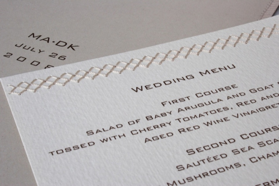 Sewn Wedding Dinner Menu